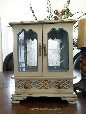 Vintage upcycled wood jewelry box shabby cottage chic antique white light blue