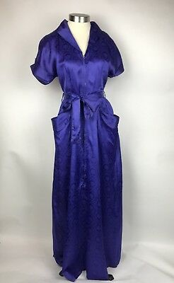 Vintage 50s Mode O' Day Purple Satin Zip Long Hostess Dress Robe Gown Size Small