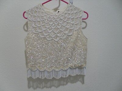 Women's Vintage Off White/White Heavily Beaded Metal Zip Lined Top