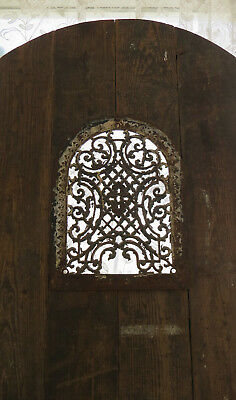 Custom ARCH DOOR 100+ yo Heart Pine Wood Cast Iron Chippy Paint Speak Easy Grate
