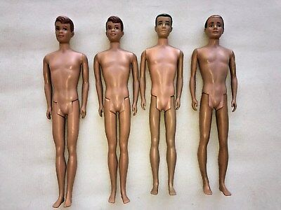 Lot of 4 1960's Ken Dolls (Barbie) Flocked and Molded Hair Collectors L@@K