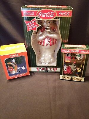 LOT OF 3 COCA COLA CHRISTMAS ITEMS~10in.Bear,1 Ornament,1 Box of5 Mini Ornaments