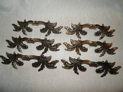 Antique Vintage Victorian Brass Bronze Ornate Decorative Drawer Pulls Set of 6