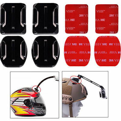 4x Flat & Curved Helmet Mounts 3M Adhesive Pads for GoPro Hero 2/3+/4/5/6 Camera