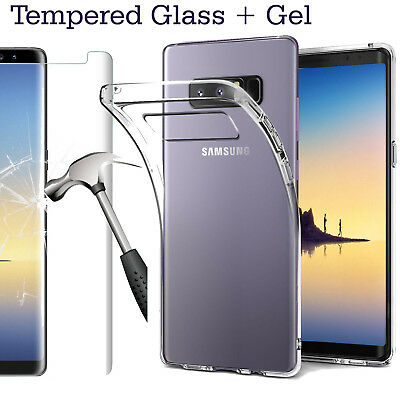 New Samsung Galaxy Note 8 Phone Silicone Soft Gel Case Cover With Tempered Glass