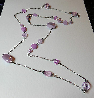 "PINK PURPLE BEADED & PEARL SILVER PLATED LONG CHAIN NECKLACE 38"" 96 cm"