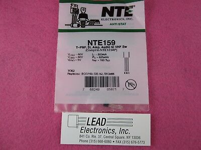 BRAND NEW ..NTE159 T-PNP, Si, Amp, Audio to VHF Sw AUTHORIZED DISTRIBUTOR