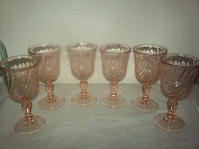 Pink Swirl Arcoroc Rosaline - Made in France - 6 WINE GLASSES / GOBLETS
