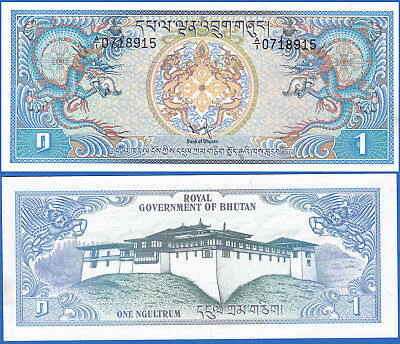 "BHUTAN 1981 ""Blue Dragons"" 1 Ngultrum Crisp UNC Banknote P-5 US-Seller"