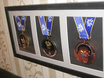 FRAMED NAGANO MEDALS 1998  - gold silver bronze - SET - WONDERFULL !