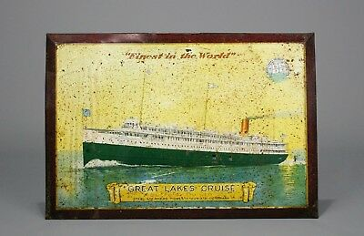 """Antique Self-Framed Tin Litho Sign, """"Great Lakes Cruise"""", GLTC, Early 20th C."""