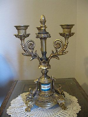 Rare Beautiful Vintage Antique Brass? Footed Candelabra Floral Painted Porcelain