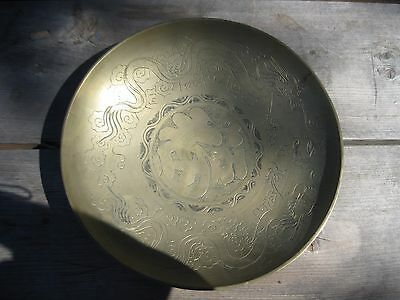 Beautiful Vintage Antique Large Heavy Brass Bowl Featuring Dragons made in China