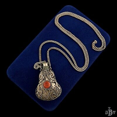 Antique Vintage Deco Chinese Sterling Silver Plated Scent Bottle Opera Necklace