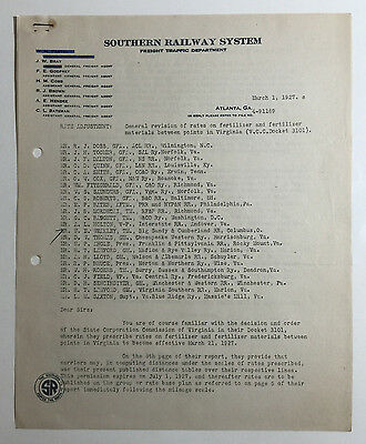 Vintage Southern Railway System Document, Rate Revisions, Atlanta Georgia 1927