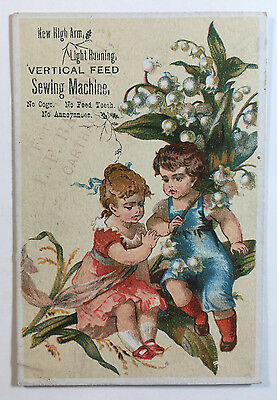 Vertical Feed Sewing Machine Victorian Trade Card, L.F. Bachman, Carthage NY