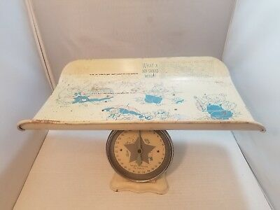 Vintage Nursery Baby Scale 0-30 Lbs What A Girl or Boy Should Weigh.