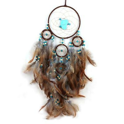 """Blue Stone Large Handmade Dream Catcher Feathers Wall Hanging Decoration 24.8"""""""