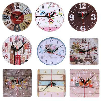 Vintage Wooden Wall Clock Shabby Chic Rustic Kitchen Home Antique Timer HOT