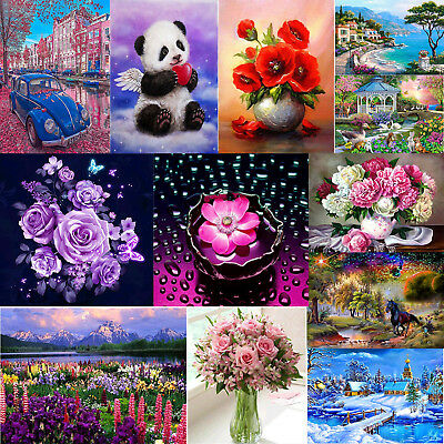 Flower 5D DIY Diamond Painting Embroidery Art Cross Crafts Stitch Home Decor lot