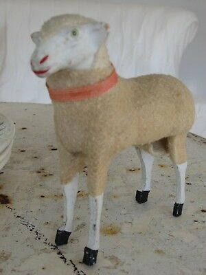 Antique Putz Sheep Lamb Stick Sheep Germany