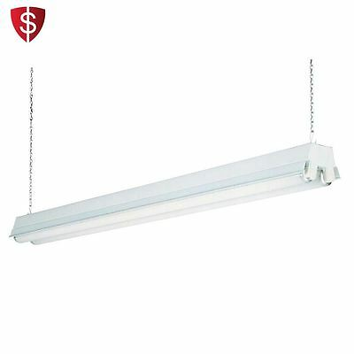 Fluorescent Light Fixture Lamp Lighting Shop Garage Ceiling Chain Workshop