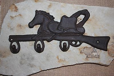 "(1) Cowboy Horse Hat And Coat Hook, Cast Iron 12 1/2"", Vintage-Look Cowboy,w-12"