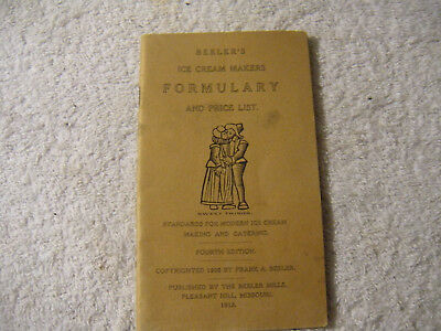 Beelers Ice Cream Makers Formulary 1913 Vintage recipe book