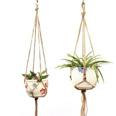 Macrame Plant Hangers Planter Basket Cotton Rope 4 Leg Holder Home Garden Office
