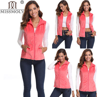 Womens Casual Fashion Solid Pink Vest Front Zipper Sleeveless Slant Pockets Hot
