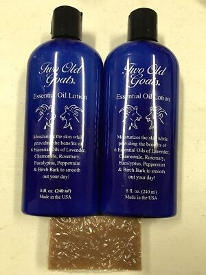 Two Old Goats Lotions Lot Of 2 With Small Soap 8 Oz  Each By Two Old Goats