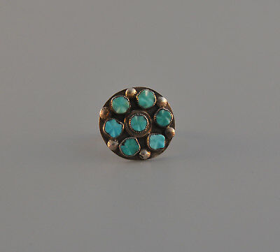 Vintage Silver Indian Ring -  7 Carved Turquoise Stones In Cluster -  6 1/2