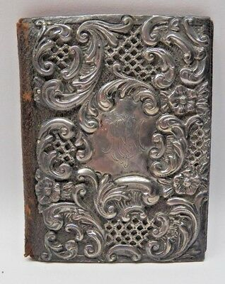 Antique Edwardian~Sterling Silver Repousse~Leather Wallet / Calling Card Case