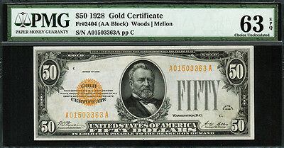 1928 $50 Gold Certificate FR-2404 - Graded PMG 63 EPQ - Choice Uncirculated
