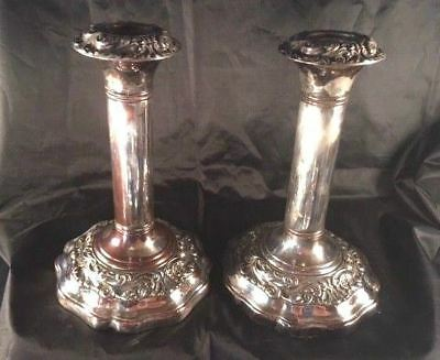 pair of old sheffield silver-plated  candlesticks  7 1/2 in  ornate deep design