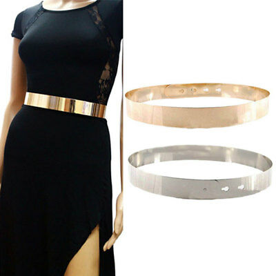 Women/High Waist Metal Mirror Belt Metallic Gold Plate Shiny Chain Wide Obi Band