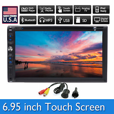"Backup Camera+7"" Double 2 Din Car Stereo Radio DVD mp3 Player Bluetooth IPod TV"
