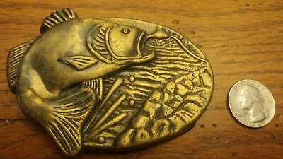 Vintage brass Bass Fishing  Belt Buckle MBCI USA Jumping out of water bait fight