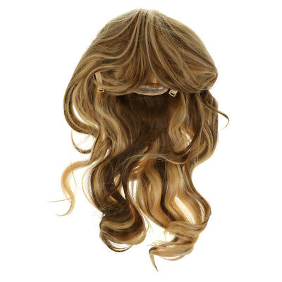 21 Inches Women Girls Mid Length Curly Synthetic Wig with Air Bangs