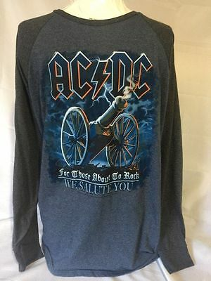 Men's Liquid Blue ACDC For Those About To Rock Long Sleeve Shirt Size XL