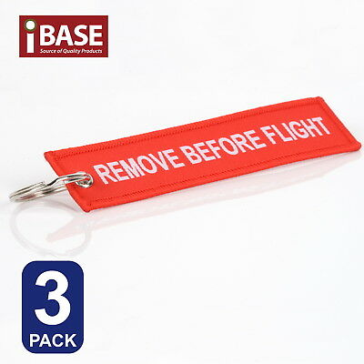 3x Red REMOVE BEFORE FLIGHT Key Ring Luggage Tag Chain Organiser Aviation Pocket