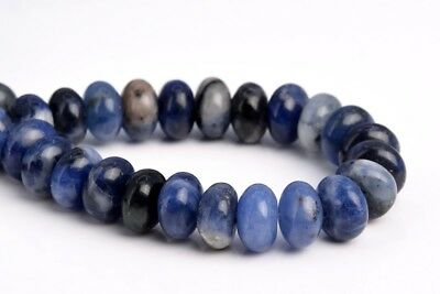 """8x5MM Natural Sodalite Grade AAA Rondelle Gemstone Loose Beads 7.5"""""""