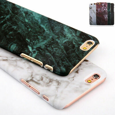 Luxury Hard Marble Granite Texture Glossy Case Cover For iPhone 8 7 X Sumsung S9