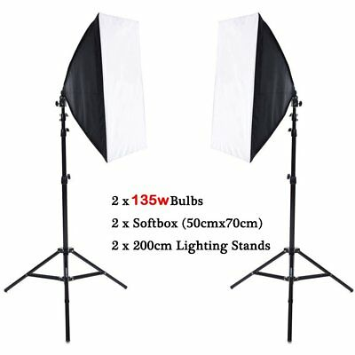 2x 135W Photography Studio Softbox Continuous Lighting Soft Box Light Stand Kit