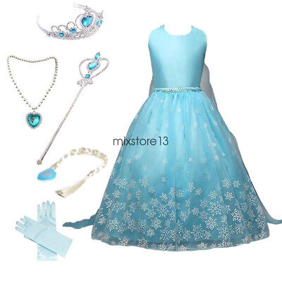 Frozen Snow Queen Elsa Princess Party Dress Costume with Accessories 3-9 Years