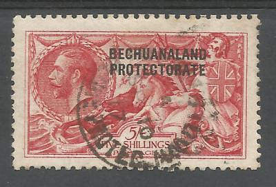 Bechuanaland Sg84  1914 Gv Waterlow  5/- Rose Carm. Seahorses Fine Used C.£375