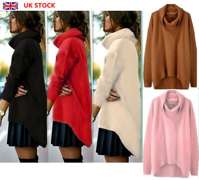 Women Plain Long Sleeve High Neck Knitted Jumper Ladies Sweater Pullover Tops