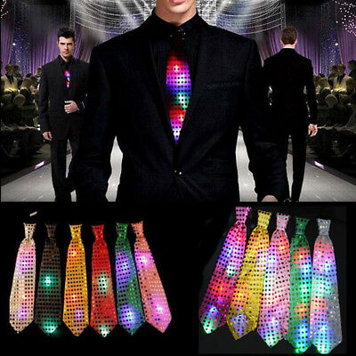 Fashion Mans LED Light Up Flashing Sequin Bowtie Necktie Bow Tie Party Gift