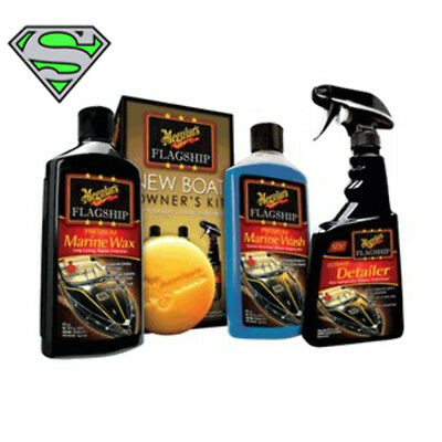Meguiars Flagship Boat Owners Kit Boat Wash Care M6375 Marine Gift Pack Present