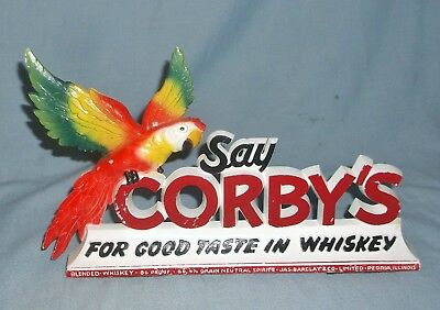 Vintage Corby's Whiskey Molded Plastic Bar Sign w/ Parrot Bright Colors